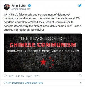 """Bolton poziva na """"crnu knjigu"""" o kineskom """"groznom"""" ponašanju u slučaju koronavirusa"""